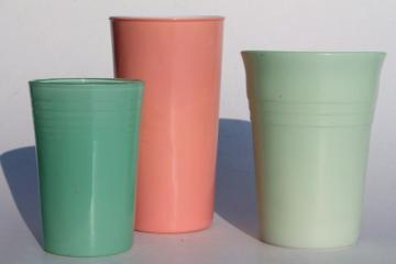 1950s vintage pink & jadite green glass tumblers, collection of drinking glasses for vases