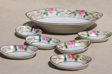 1950s vintage pink roses bowl & tiny nut dishes set, made in Japan hand-painted Nippon