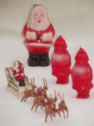 1950s vintage plastic santa collection christmas tree ornaments cake decorations