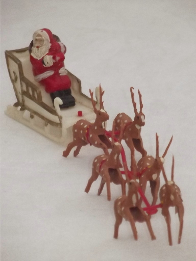 1950s vintage plastic santa collection christmas tree for Collecting vintage christmas ornaments