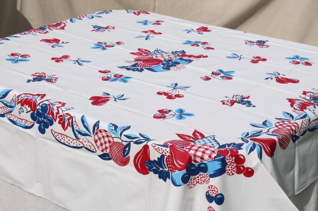 1950s Vintage Plastic Tableclothw Red Amp Blue Retro Fruit