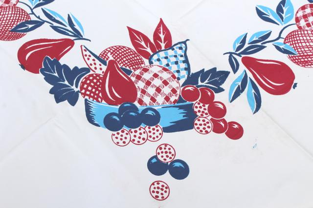 1950s vintage plastic tableclothw/ red & blue retro fruit, wipe-clean kitchen oilcloth