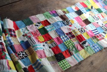 1950s vintage postage stamp patchwork quilt block table runner, cotton prints, flannel fabric
