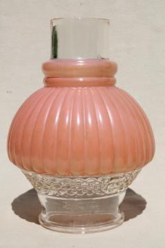 1950s vintage pressed glass lampshade, rose pink hurricane chimney shade for boudoir lamp
