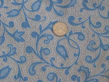 1950s vintage print cotton fabric, blue vines on soft grey & white