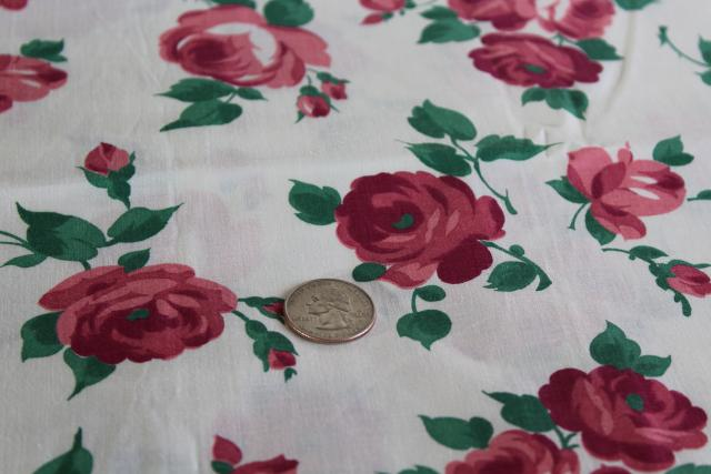 1950s vintage print cotton fabric w/ deep pink roses, cottage style floral