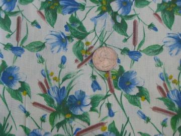 1950s vintage print cotton fabric, rushes w/ blue & yellow flowers