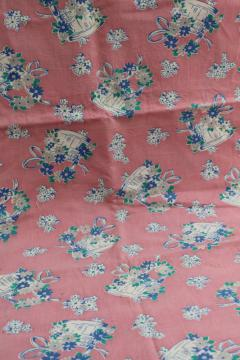 1950s vintage print cotton feed sack fabric, buckets of flowers on pink