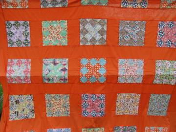 1950s vintage quilt top, old print cotton patchwork blocks, orange border