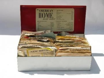 1950s vintage red and white kitchen recipe cards file box, old recipes
