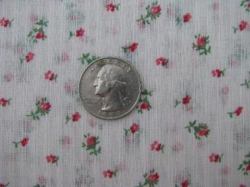 1950s vintage sheer cotton fabric, pink rosebuds print, nice for doll or baby dresses