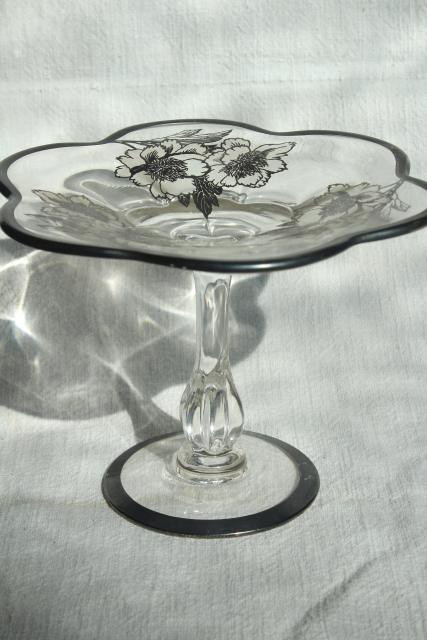 1950s vintage silver deposit overlay glass candy dish, Duncan & Miller Canterbury bonbon stand