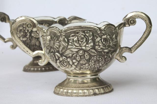 1950s vintage silver roses ornate metal cream & sugar w/ white enamel lining