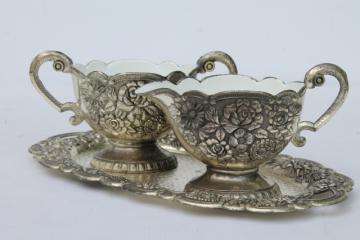 1950s vintage silver roses ornate metal cream & sugar w/ white enamel lining