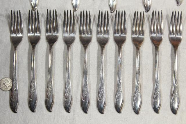 1950s vintage silverware, Springtime International Silver plate flatware service for 10
