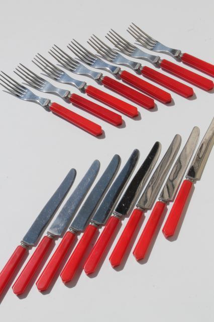 1950s Vintage Silverware Cherry Red Bakelite Forks