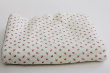 1950s vintage soft pure cotton flannel fabric baby pink rosebuds print