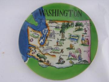 1950s vintage souvenir plate, Washington state map, hand-painted Japan