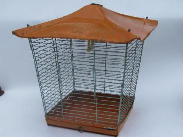 1950s vintage steel wire bird cage, canary birdcage w/ metal pagoda roof