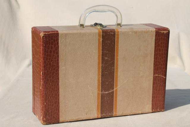 1950s vintage suitcase, child's size old school travel case for books or clothes
