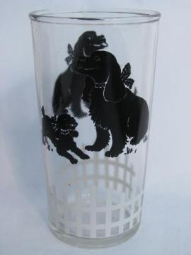 1950s vintage swanky swig, child's milk glass w/ black spaniel dog print