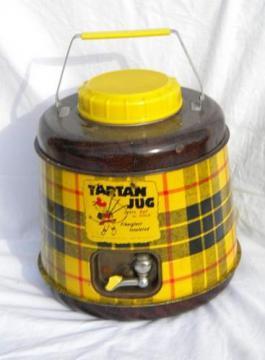 1950s vintage tartanware, yellow tartan plaid picnic thermos jug cooler