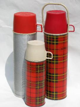 1950s vintage thermos bottles for lunch or picnics, tartanware plaid