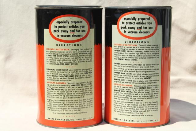 1950s vintage tins w/ retro graphics, household chemical cleaning products moth crystals