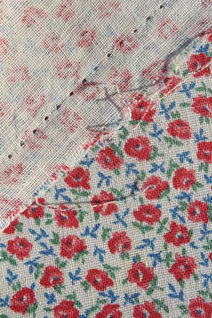 1950s vintage tiny red roses print cotton feed sack fabric