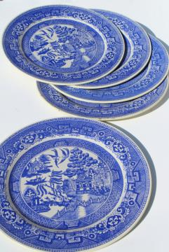 1950s vintage toleware tin plates, Blue Willow litho print metal charger plate set