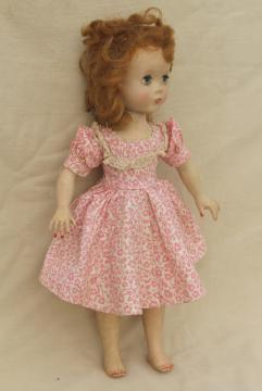 1950s vintage walking doll Ideal Saucy Walker in pink print cotton dress