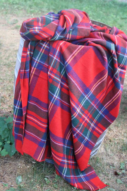 1950s vintage wool camp blanket, red tartan plaid cozy fall farmhouse cabin decor
