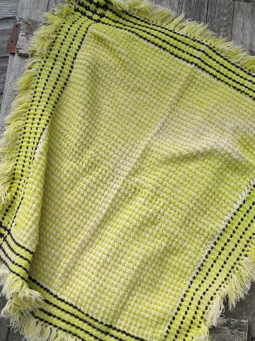 1950s vintage woven wool throw blanket, yellow & white w/ black