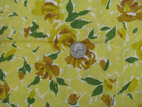 1950s vintage yellow roses print cotton dress weight fabric