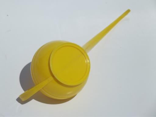 1950s watering can & kitchen wall pocket, kitschy pink roses yellow plastic
