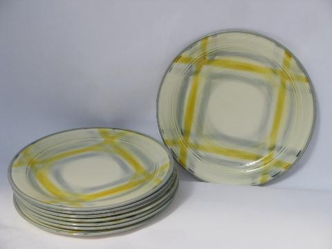 1950s Yellow Grey Plaid Dishes Vintage Vernonware Tweed