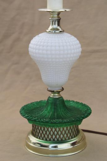 1960s Vintage Glass Lamp, Milk Glass Table Lamp W/ Green Colored Glass Base