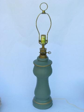 1960s Vintage Matte Jade Green Ceramic Table Lamp C N Burman