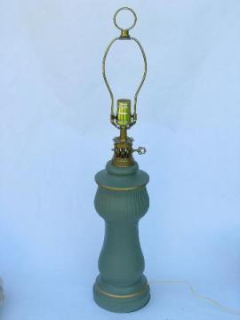 1960s vintage matte jade green ceramic table lamp, C N Burman