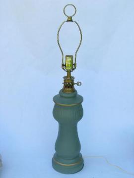 1960s vintage matte jade green ceramic table lamp, C N Burman