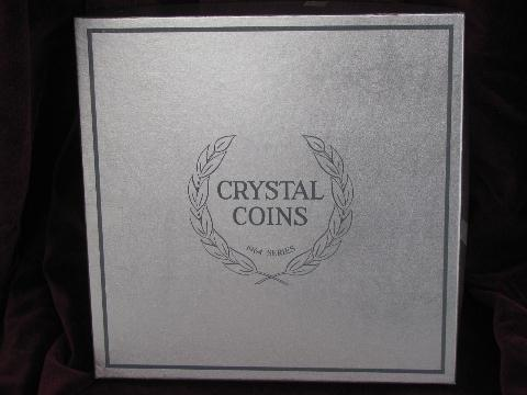 1964 coin impressions crystal coins Imperial glass collector's plate