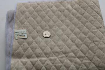 1970s vintage homespun unbleached cotton poly fill quilted fabric Penney's label