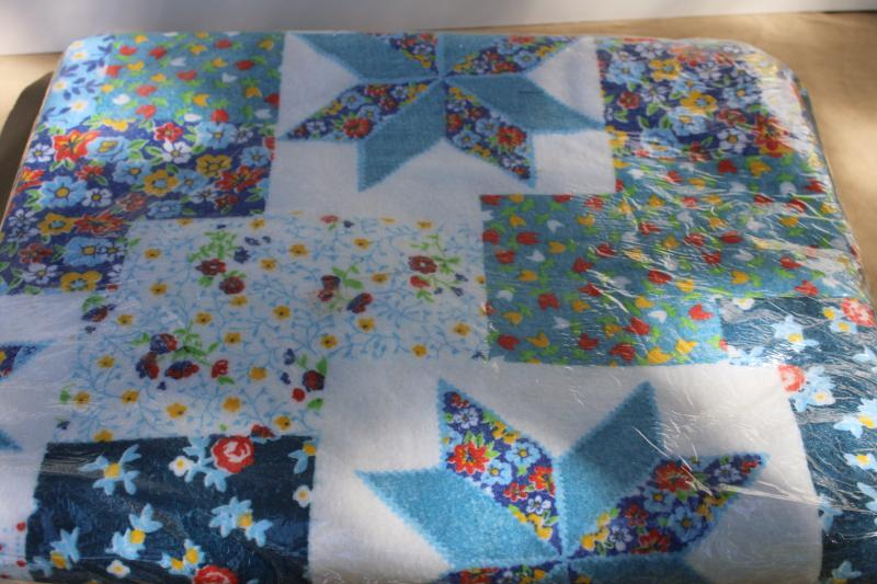 1970s vintage Beacon blanket mint in package, patchwork quilt print
