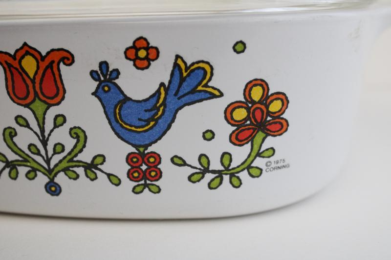 1970s vintage Corningware casserole folk art blue bird, Country Festival or Friendship