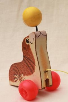 1970s vintage Fisher Price wood pull toy, circus seal in brown & white