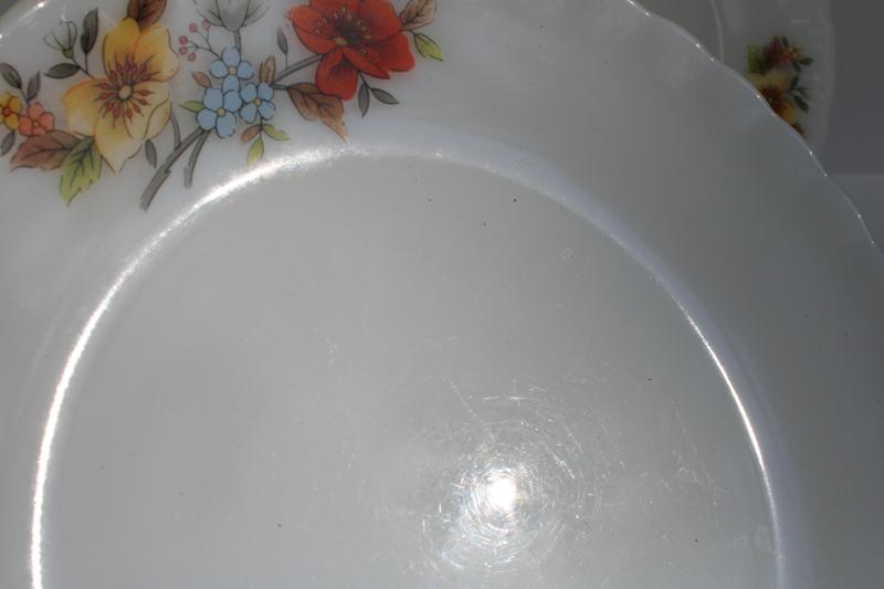 1970s vintage Korea milk glass plates w/ bright flowers, Fire King type glasswa