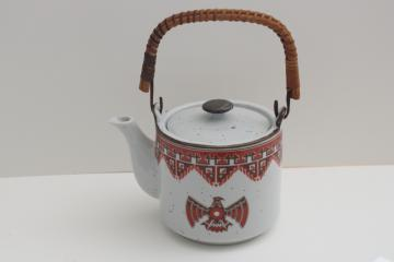 1970s vintage ceramic teapot w/ Indian thunderbird design, made in Japan stoneware