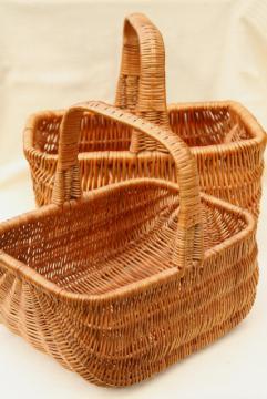 1970s vintage market baskets, mama & baby natural brown wicker rattan basket set
