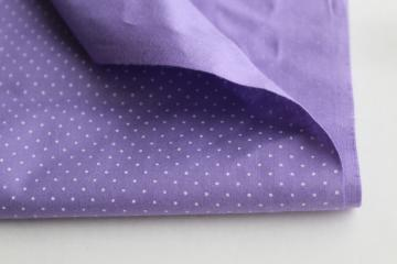 1980s 90s vintage lavender / white pin dot print cotton quilting fabric