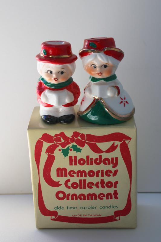 1980s vintage Christmas carolers china figurines, candle holders in original box